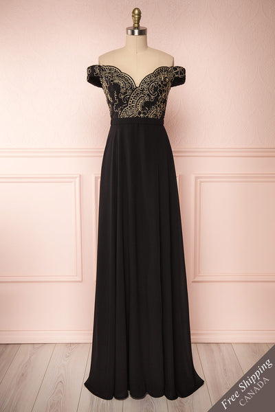 Hermeline Black Maxi Dress with Slit| | Boutique 1861 front view