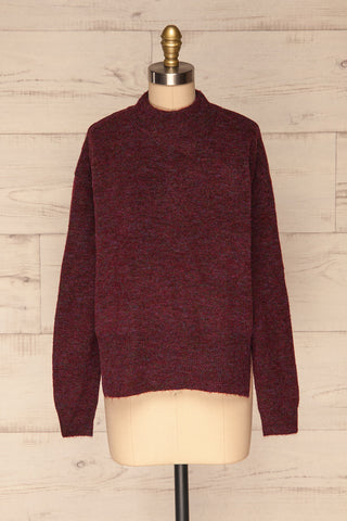 Herning Burgundy High-Neck Knit Sweater | Boutique 1861 front view
