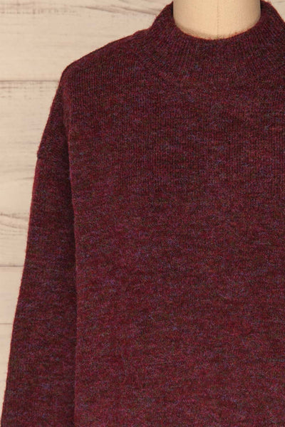 Herning Burgundy High-Neck Knit Sweater | Boutique 1861 front close-up