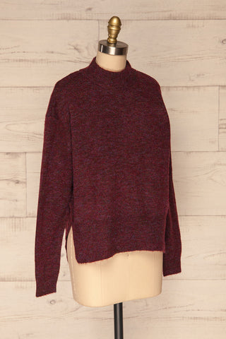 Herning Burgundy High-Neck Knit Sweater | Boutique 1861 side view