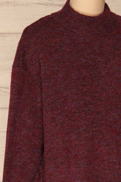 Herning Burgundy High-Neck Knit Sweater | Boutique 1861 side close-up
