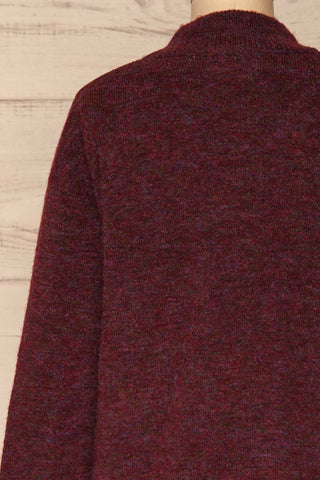 Herning Burgundy High-Neck Knit Sweater | Boutique 1861 back close-up