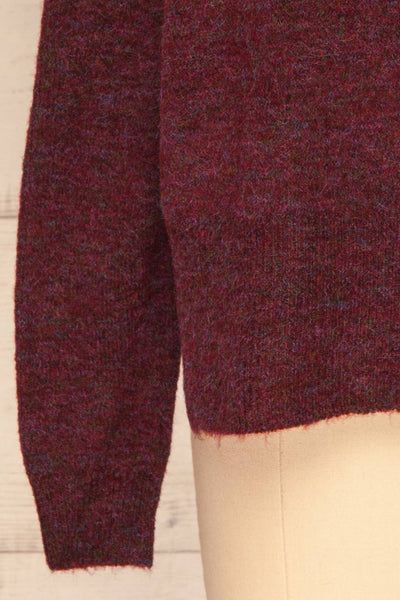 Herning Burgundy High-Neck Knit Sweater | Boutique 1861 bottom close-up