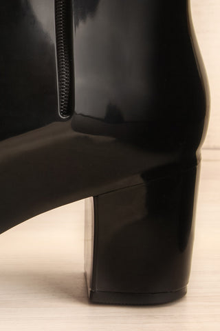 Herran Noir Black Heeled Ankle Boots side heel close-up | La Petite Garçonne Chpt. 2