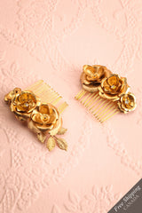 Hestiah Gold Hair Combs Set with Flowers & Leaves | Boudoir 1861