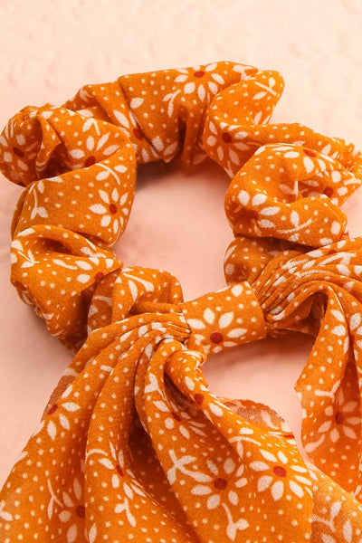 Hetre Fall Yellow Floral Hair Scrunchie | Boutique 1861 close-up