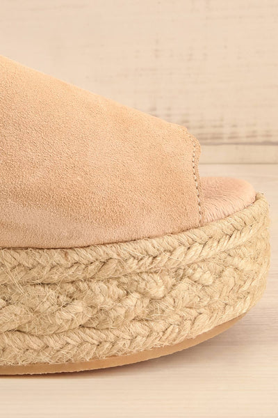 Hiba Sand Cord Platform Slide Sandals | La petite garçonne side front close-up