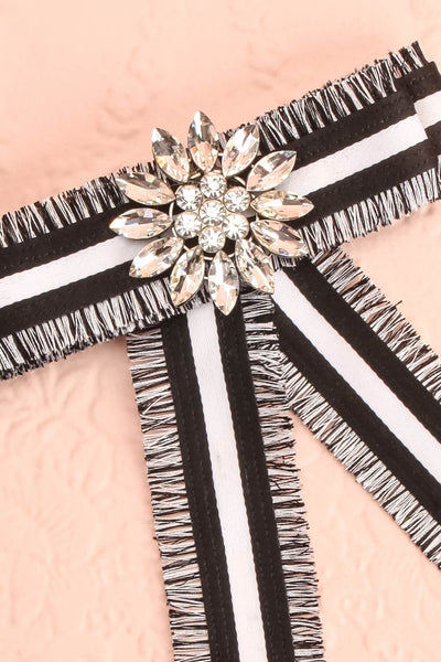 Hieracium Black & White Ribbon Bow & Crystal Brooch | Boutique 1861 2