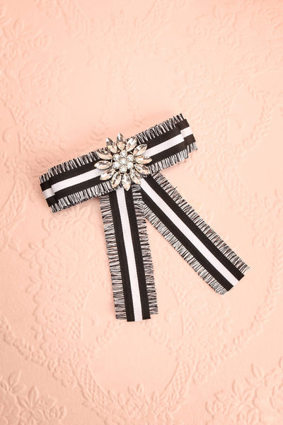 Hieracium Black & White Ribbon Bow & Crystal Brooch | Boutique 1861 1