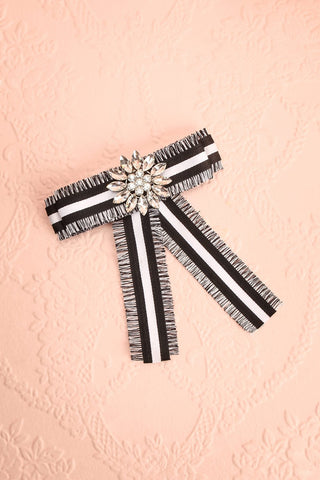Hieracium Black & White Ribbon Bow & Crystal Brooch | Boutique 1861