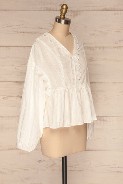 Hillerod White Blouse with Lace Details side view | La Petite Garçonne