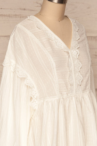 Hillerod White Blouse with Lace Details side close up | La Petite Garçonne