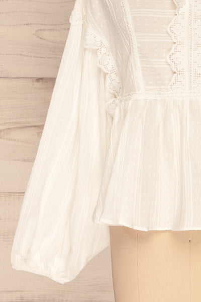 Hillerod White Blouse with Lace Details sleeve close up | La Petite Garçonne