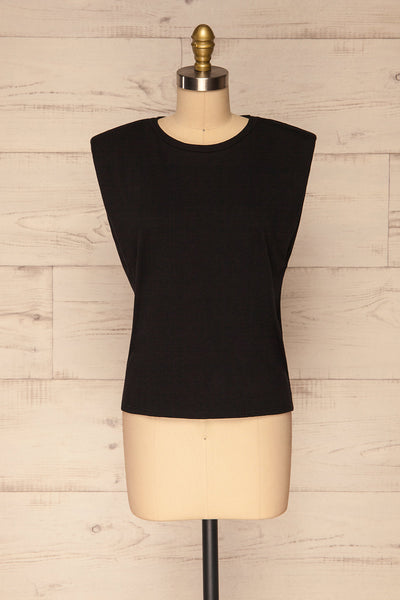 Himera Black Sleeveless Shoulder Padded Top | La petite garçonne front view