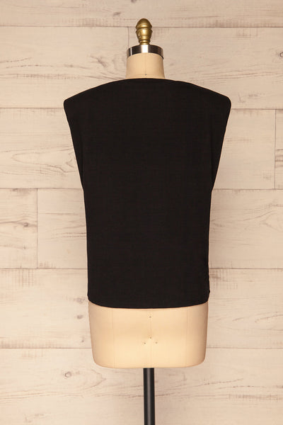 Himera Black Sleeveless Shoulder Padded Top | La petite garçonne back view