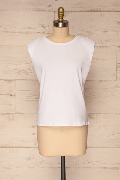 Himera White Sleeveless Shoulder Padded Top | La petite garçonne front view