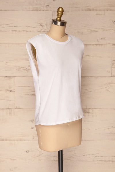 Himera White Sleeveless Shoulder Padded Top | La petite garçonne side view