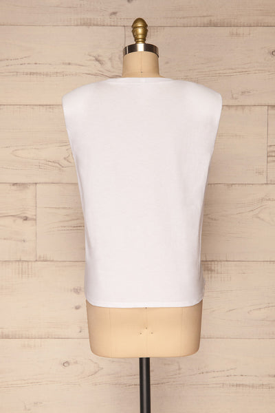 Himera White Sleeveless Shoulder Padded Top | La petite garçonne back view