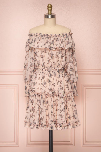 Hirakawa Dusty Pink Floral Off-Shoulder A-Line Dress | Boutique 1861