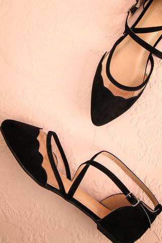 Honiara Black Velvet Pointy Toed Flat Shoes | Boutique 1861