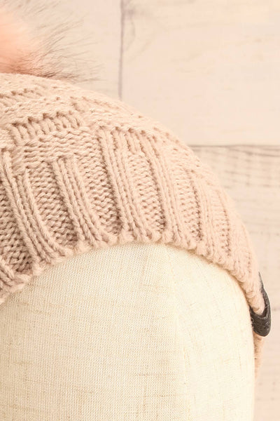 Honokaa Beige Knit Tuque with Faux-Fur Pompom close-up | La Petite Garçonne