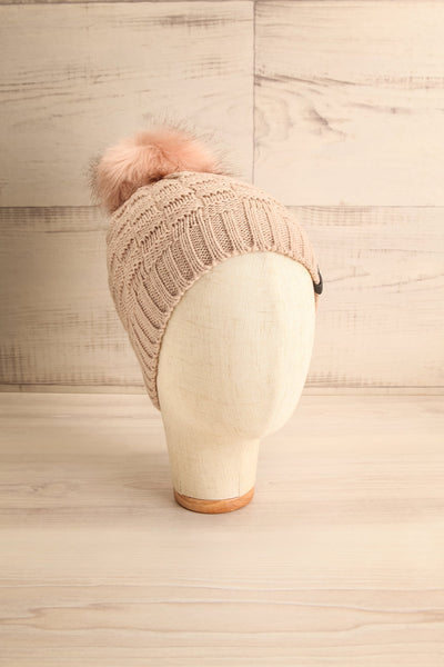 Honokaa Beige Knit Tuque with Faux-Fur Pompom on head | La Petite Garçonne