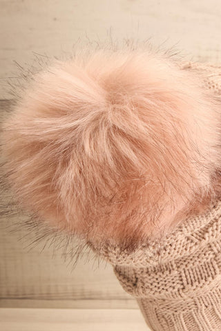 Honokaa Beige Knit Tuque with Faux-Fur Pompom back close-up | La Petite Garçonne