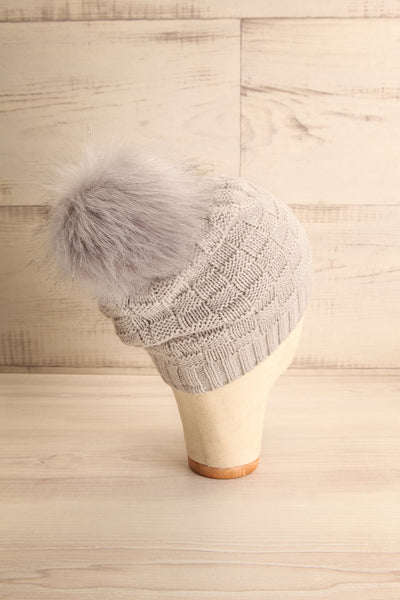Honokaa Beige Knit Tuque with Faux-Fur Pompom back view | La Petite Garçonne