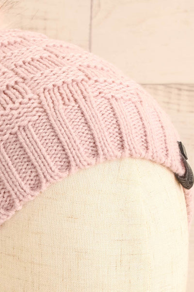 Honokaa Rose Pink Knit Tuque with Faux-Fur Pompom close-up | La Petite Garçonne