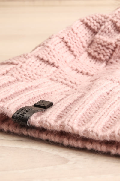 Honokaa Rose Pink Knit Tuque with Faux-Fur Pompom flat close-up | La Petite Garçonne
