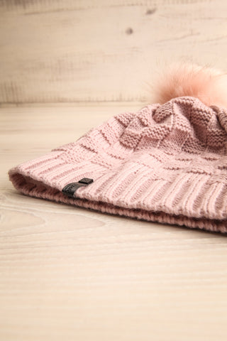 Honokaa Rose Pink Knit Tuque with Faux-Fur Pompom flat view | La Petite Garçonne