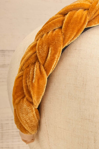 Houx Mustard Velvet Braided Headband | La petite garçonne close-up