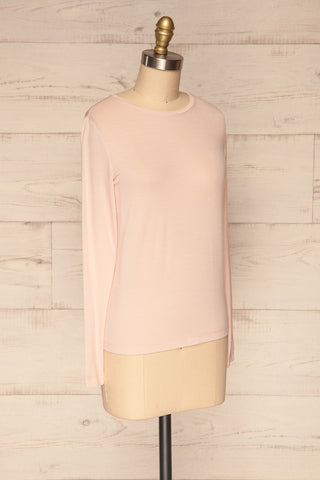 Huddinge Light Pink Long Sleeved T-Shirt side view | La Petite Garçonne