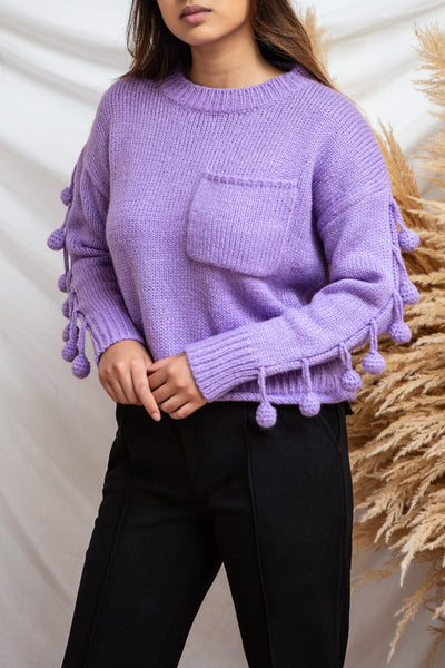 Huesca Purple Pompom Knitted Sweater | La petite garçonne  model