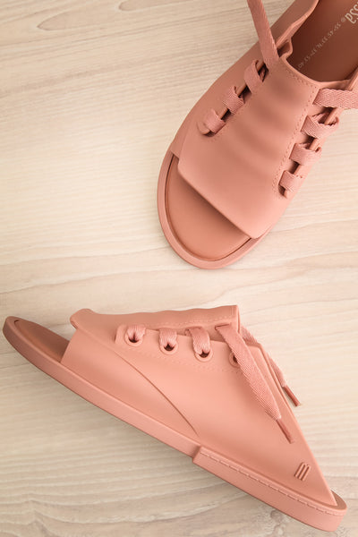 Hulot Pink Laced Slip-On Sandals | La Petite Garçonne Chpt. 2 front view