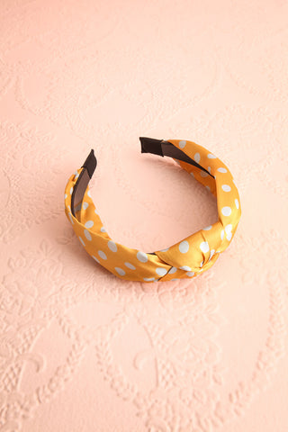 Husna Soleil Yellow & Grey Polka Dots Knotted Headband | Boutique 1861 3