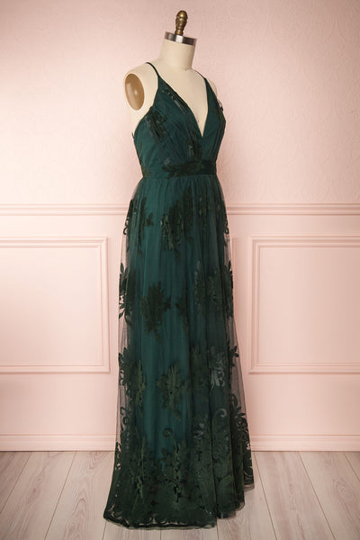Hyade Green Mesh Plus Size Gown | Robe Maxi | Boutique 1861 side view