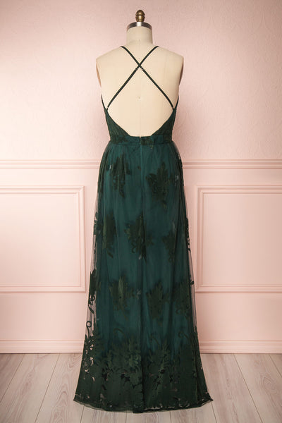 Hyade Green Mesh Plus Size Gown | Robe Maxi | Boutique 1861 back view