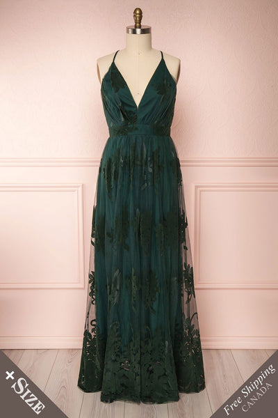 Hyade Green Mesh Plus Size Gown | Robe Maxi | Boutique 1861 front view