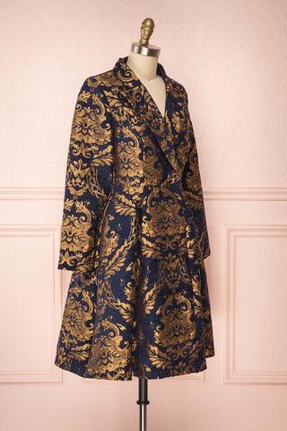 Hyleoroi Navy & Gold Jacquard Pleated Princess Coat | Boutique 1861 side view