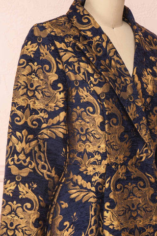 Hyleoroi Navy & Gold Jacquard Pleated Princess Coat | Boutique 1861 side close-up