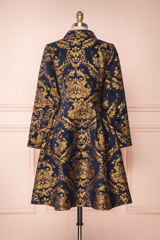 Hyleoroi Navy & Gold Jacquard Pleated Princess Coat | Boutique 1861 back view