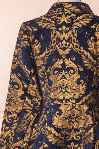 Hyleoroi Navy & Gold Jacquard Pleated Princess Coat | Boutique 1861 back close-up