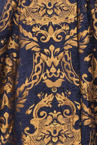 Hyleoroi Navy & Gold Jacquard Pleated Princess Coat | Boutique 1861 fabric detail