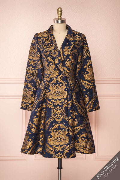 Hyleoroi Navy & Gold Jacquard Pleated Princess Coat | Boutique 1861 front view