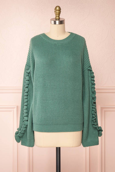 Idelle Green Knit Sweater w/ Frills on Sleeves | Boutique 1861 front view