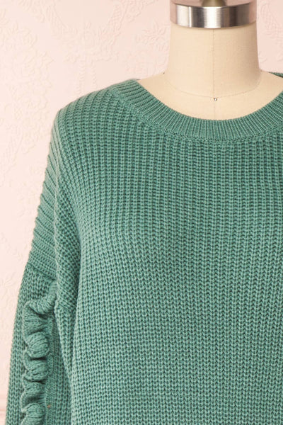 Idelle Green Knit Sweater w/ Frills on Sleeves | Boutique 1861 front close-up