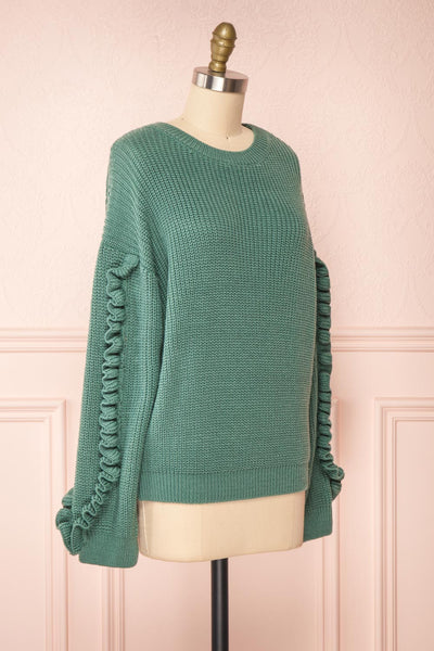 Idelle Green Knit Sweater w/ Frills on Sleeves | Boutique 1861 side view