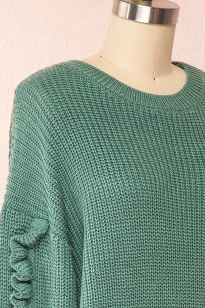 Idelle Green Knit Sweater w/ Frills on Sleeves | Boutique 1861 side close-up