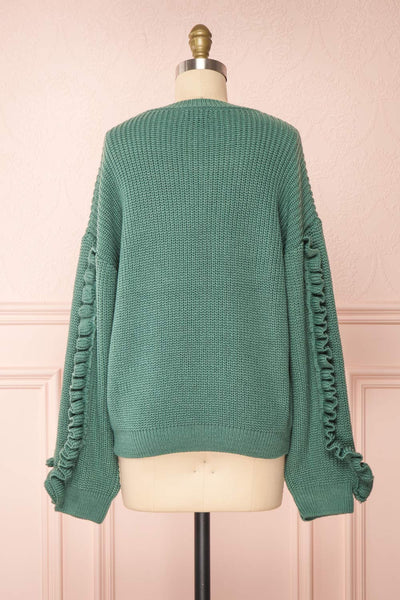 Idelle Green Knit Sweater w/ Frills on Sleeves | Boutique 1861 back view